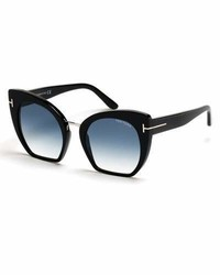 Tom Ford Samantha Cropped Cat Eye Sunglasses Turquoiseblack