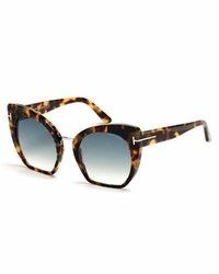 Tom Ford Samantha Cropped Cat Eye Sunglasses Turquoisetortoise