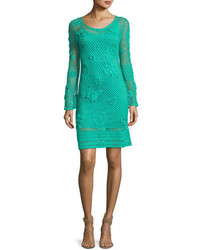 Cottonwood long sleeve crochet sweaterdress cabana teal medium 3741539