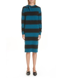 Marc Jacobs Tie Neck Stripe Wool Sweater Dress