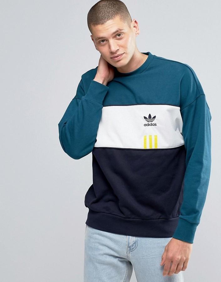 $82, adidas Originals Id96 Crew Sweatshirt In Green Ay9251