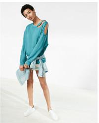 Express Slash Neck Cold Shoulder Sweatshirt