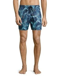 Vilebrequin Mahina Tropical Leaves Swim Trunks Navylight Blue