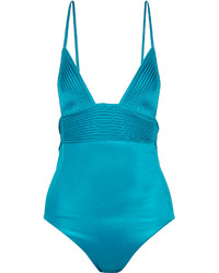 La Perla Beach Nervure Metallic Stretch Satin Swimsuit