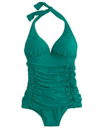 J.Crew Long Torso Ruched Halter One Piece Swimsuit