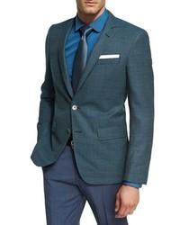 BOSS Mini Dot Textured Wool Sport Coat Teal