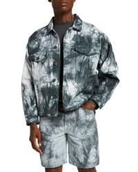 River Island Oversize Tie Dye Denim Jacket