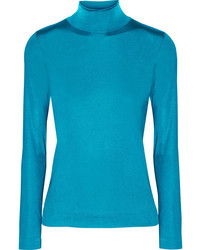 Golden Goose Deluxe Brand Iman Stretch Satin Turtleneck Top Bright Blue