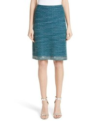 St. John Collection Sequin Sheen Tweed Knit A Line Skirt
