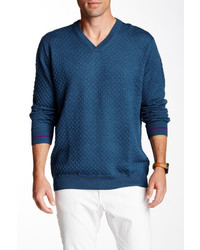 Robert Graham Bagley Textured Knit Wool V Neck Sweater