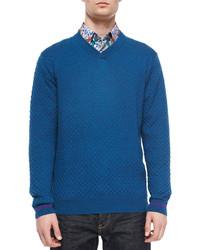 Robert Graham Bagley Textured V Neck Sweater Teal