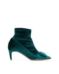 Teal Velvet Ankle Boots