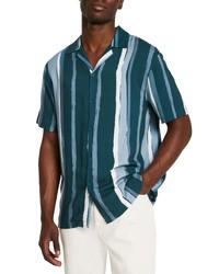 River Island Paint Stripe Short Sleeve Button Up Camp Shirt