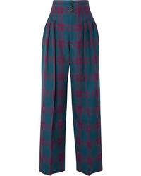 Marc Jacobs Pleated Tartan Wool Wide Leg Pants