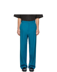 Balenciaga Blue Wool Baggy Tailored Trousers