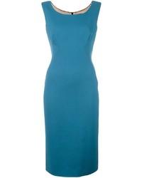 Teal Wool Midi Dress