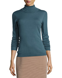 Lafayette 148 New York Wool Turtleneck Sweater Cadet