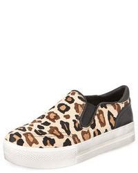 Tenis de ante de leopardo marrón claro de Ash