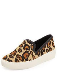 Tenis de ante de leopardo marrón claro de Sam Edelman