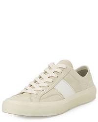 Tenis de ante de rayas horizontales blancos de Tom Ford