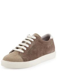 Tenis de ante marrón claro de Brunello Cucinelli