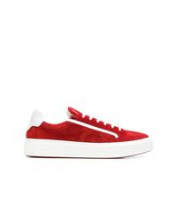 Tenis de ante rojos de Salvatore Ferragamo