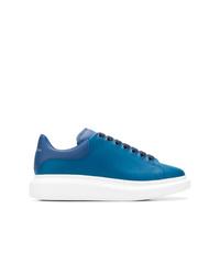 Tenis de cuero azules de Alexander McQueen