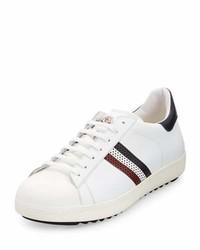 Tenis de cuero de rayas horizontales blancos de Moncler