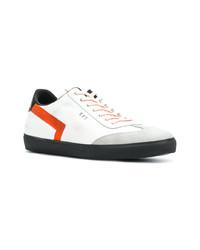 Tenis de cuero en blanco y rojo de Leather Crown