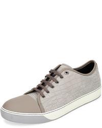 Tenis de cuero grises de Lanvin