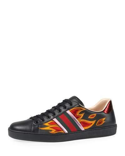 ... Tenis de cuero negros de Gucci ... 5dc3767bd6a