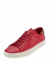 Tenis de cuero rojos de Saint Laurent