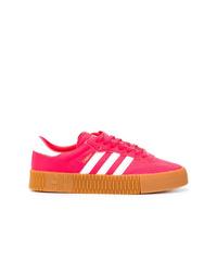 Tenis de cuero rosa de adidas