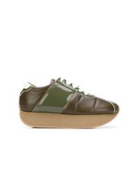 Tenis de cuero verde oliva de Marni