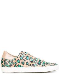 Tenis de leopardo marrón claro de Philippe Model