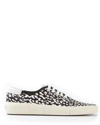 Tenis de leopardo marrón claro de Saint Laurent