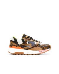 Tenis de leopardo marrónes de Versace
