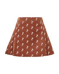 Chloé Pleated Embroidered Cotton Blend Velvet Mini Skirt