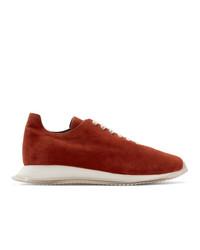 Rick Owens Red Suede Minimal Runner Sneakers
