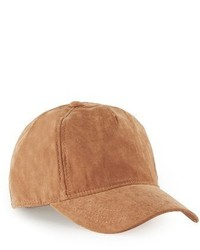 Topman Faux Suede Baseball Cap Brown