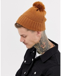 ASOS DESIGN Bobble Beanie In Tobacco Recycled Polyester