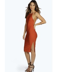 Boohoo Lydia Crepe Low Back Midi Bodycon Dress