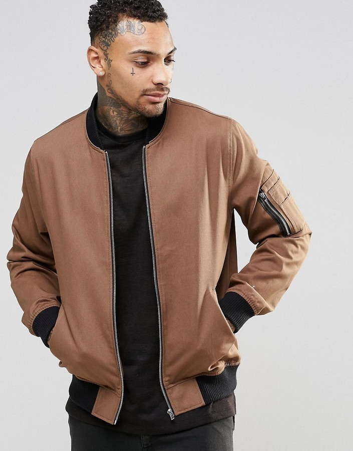 Asos Brand Bomber Jacket With Ma1 Pocket In Light Brown | Where to ...