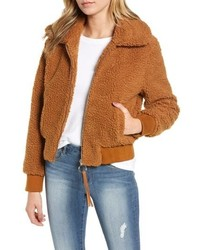 MOON RIVE R Faux Fur Bomber Jacket