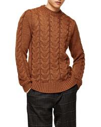 Topman Cable Crewneck Sweater