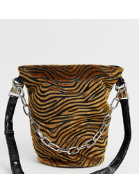 Sacred Hawk Tiger Print Bucket Bag With Chain Detail