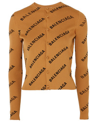 Balenciaga Printed Ribbed Knit Cardigan