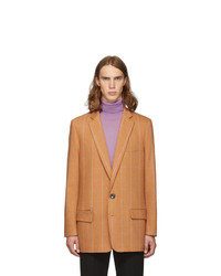 Tibi Ssense Orange Check Wool Long Blazer