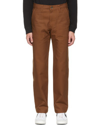 Naked & Famous Denim Brown Canvas Work Trousers