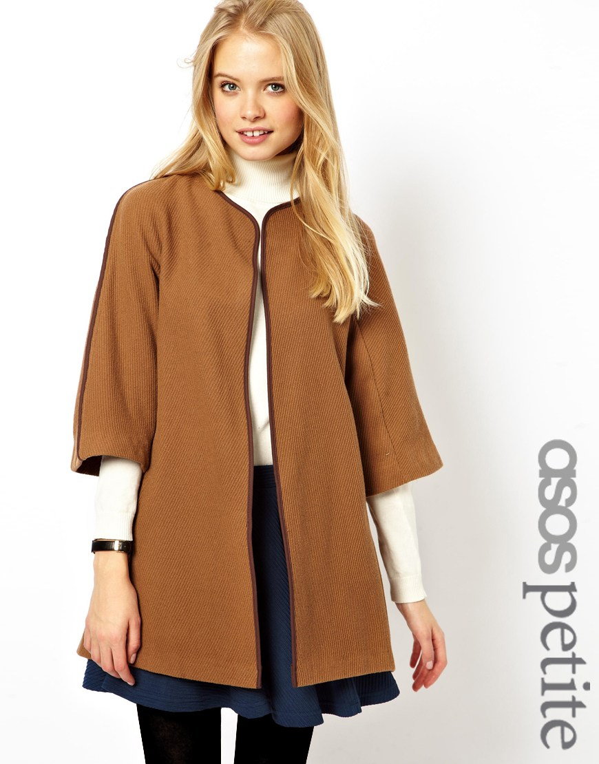 Asos Petite Cape Jacket In Camel | Where to buy & how to wear